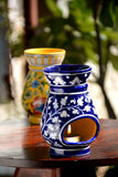 Blue Pottery Blue Base White Flower Aroma Oil Diffuser/ Warmer/ Burner 6L*3W Inch