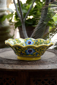 Blue Pottery Yellow Turquoise Flower Lotus Bowl