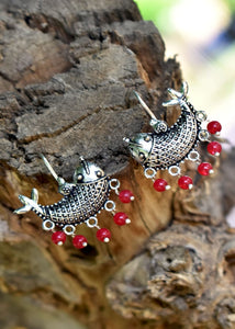 Oxidized Fish Earings