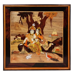 "Rosewood Radha Krishna Wall Panel - size 16"" x 19"" inches"