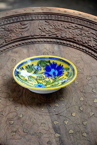 Blue Pottery Handmade Yellow Blue Flower Soap Dish