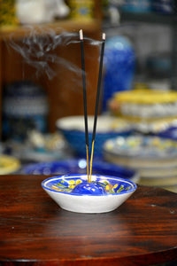 Blue Pottery Yellow Flower With Blue Base Incense Holder