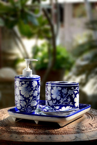 Blue Flower Handmade Bathroom Set