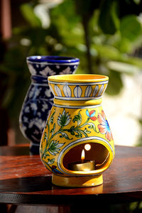 Blue Pottery Yellow Brown Flower Aroma Oil Diffuser/ Warmer/ Burner