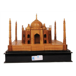 Handmade Sandalwood Taj Mahal With Acrylic Case 6X6X4 Inches