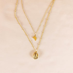 Africa Layered cowrie necklace Gold