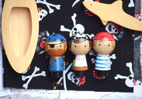Pirate Kokeshi Peg Doll Set of 3