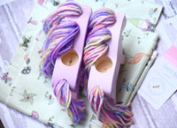 Purple Wooden Yarn Horse with Purple Hair and Flower Design