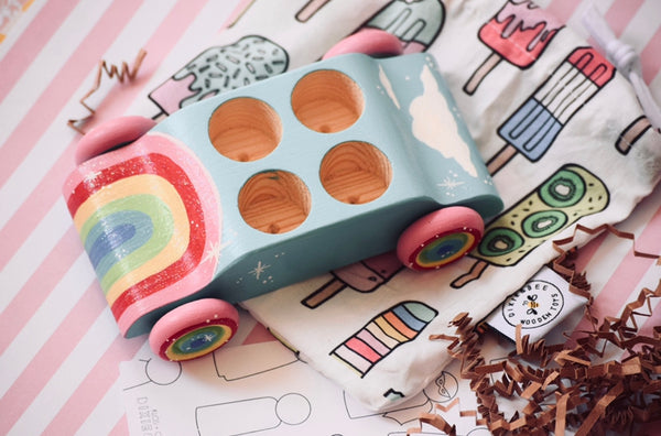 Rainbow Car - Wooden Car with Kids Name or Cloud