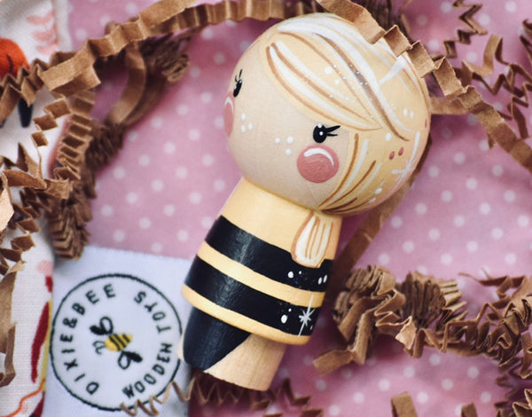 Queen Bee - Kokeshi Doll || this Doll can be customized with hair and skin tone ||