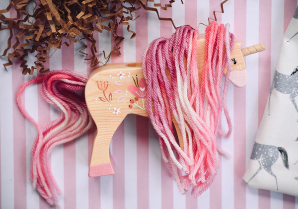 Pinky Yarn Horse - Natural Body with Light or Dark Pink Flower Design and Pink Yarn Hair
