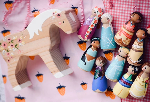 Custom Wooden Horse : YOUR Design || fits only small & medium sized dolls
