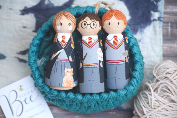 Harry Potter Set of 3 Tall Peg Dolls