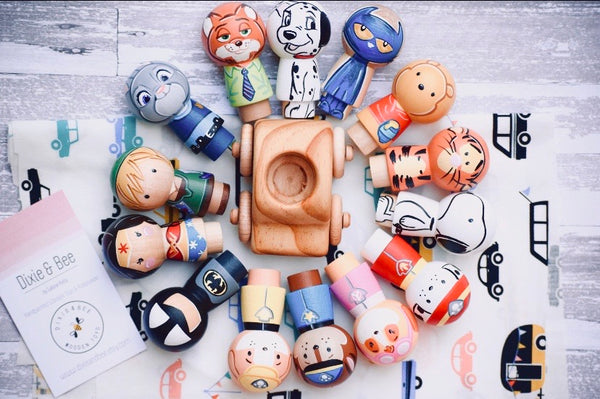 Any 2 Character Kokeshi Peg Dolls
