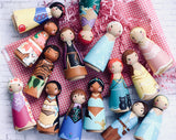 Any 10 Prince & Princess Tall Peg Dolls