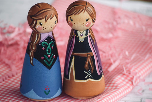 Both Anna Peg Dolls - Tall Peg Doll Set of 2