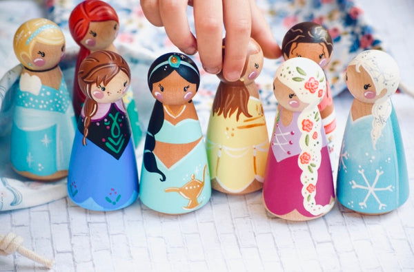 Any 10 Tall Princess Peg Dolls