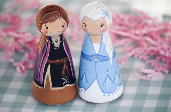 Frozen 2 - Anna & Elsa Tall Peg Dolls