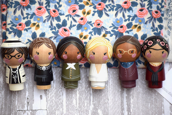Any 5 Women in History Kokeshi Peg Dolls