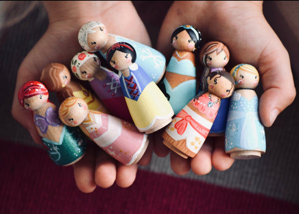 1 Tiny Princess Peg Doll - Choose Your Set