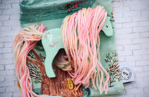 Mint Body Wooden Yarn Horse with Pink Toned Hair || choose your design