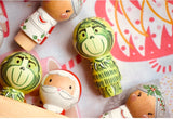 Happy Grinch Kokeshi Peg Doll