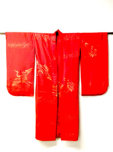 Vintage Japanese Vermillion Silk Juban with Surihaku Applied Gold Cranes | Nagajuban
