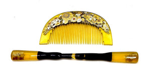 Japanese Antique Kushi Gold Lacquer Kushi and Kanzashi Hairpin | Japanese Hair Comb and Hairpin
