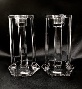 Pair of Vintage American Art Deco Glass Candlesticks