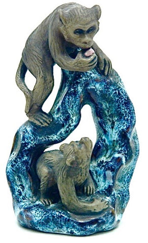 Antique Chinese Republic Shiwan (Shekwan) Pottery | Blue and Black Flambe' Two Monkeys Holding a Peach