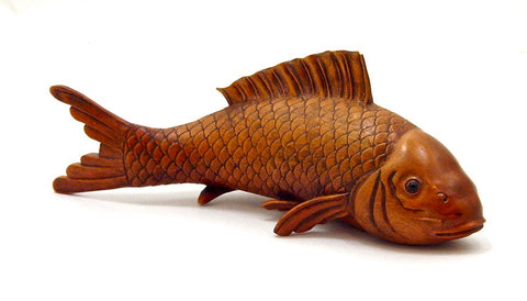 Vintage Japanese Boxwood Koi Carving | Signed