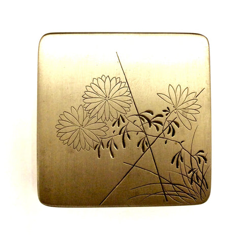 Vintage Japanese Brass Seal Paste Box and Cover | Calligraphers Ink Box (Shuniku)
