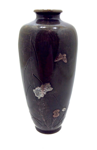 Japanese Mixed Bronze and Metal Vase
