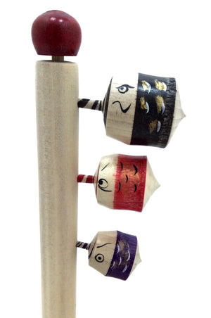 Japanese Traditional Spinning Tops with Three Carp on Pole for Boy's Day Celebration Games | Vintage Koma
