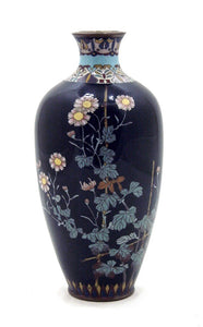 Exceptional Antique Signed Japanese Enamel Cloisonné Vase with Chrysanthemums and Butterflies
