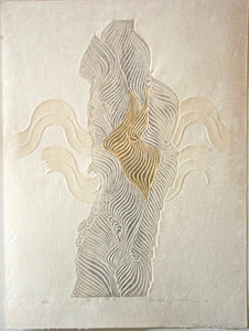 Reika Iwami | Monochrome and Embossed Woodblock Print Entitled: Tune of Water G