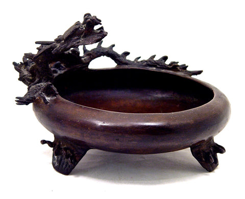 Vintage Japanese Bronze Dragon Brush Washer | Hissen | 19th Century