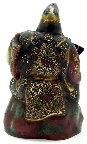 Antique and Exceptional Japanese Ebisu Porcelain and Clay | Satsuma Moriage Immortal Figurine