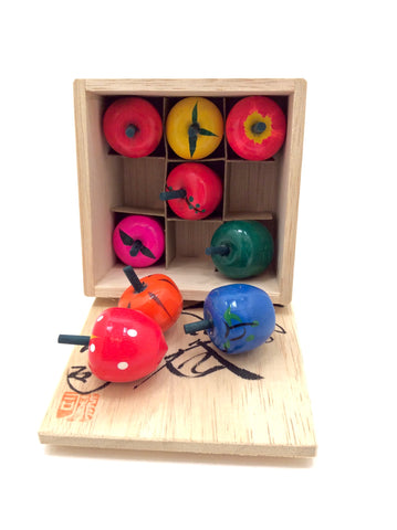 Japanese Set of Nine Traditional Fruit Spinning Tops | Vintage Koma