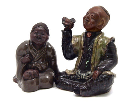 Antique Japanese Pottery Story Teller Figurines | Hakuin & Otafuku