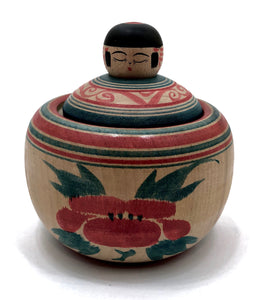 Traditional Kokeshi Ejiko Container with Spinning Tops by Abo, Muchihide