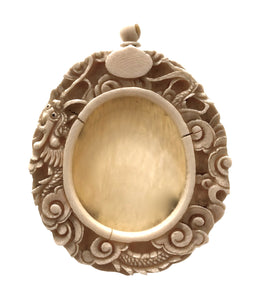 Antique Chinese Miniature Ivory Oval Picture Frame | Meiji era
