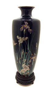 Antique Japanese Cloisonné Enamel Vase with Iris' and White Herons