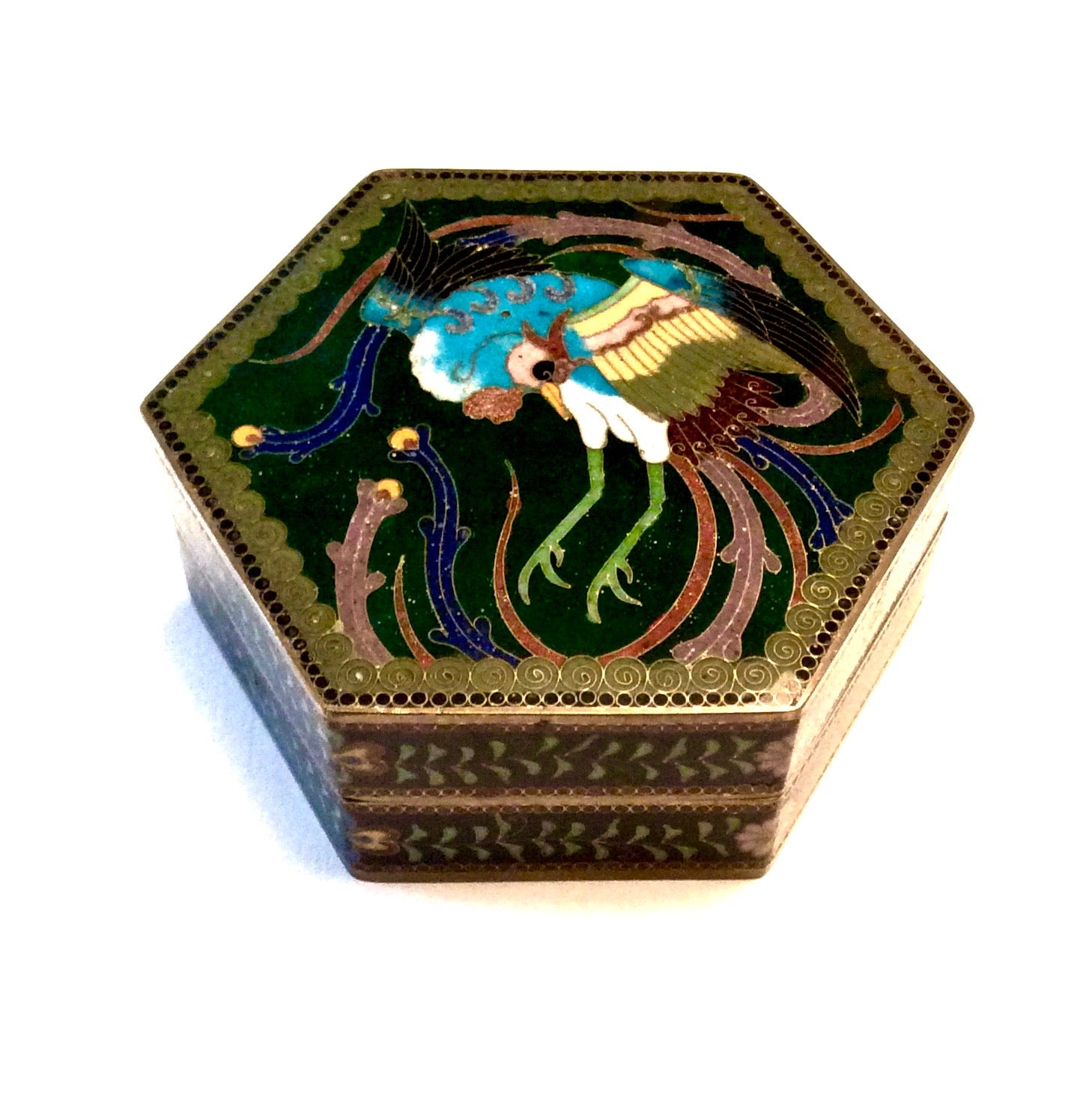 Japanese Vintage Hexagonal Cloisonne' Trinket Box