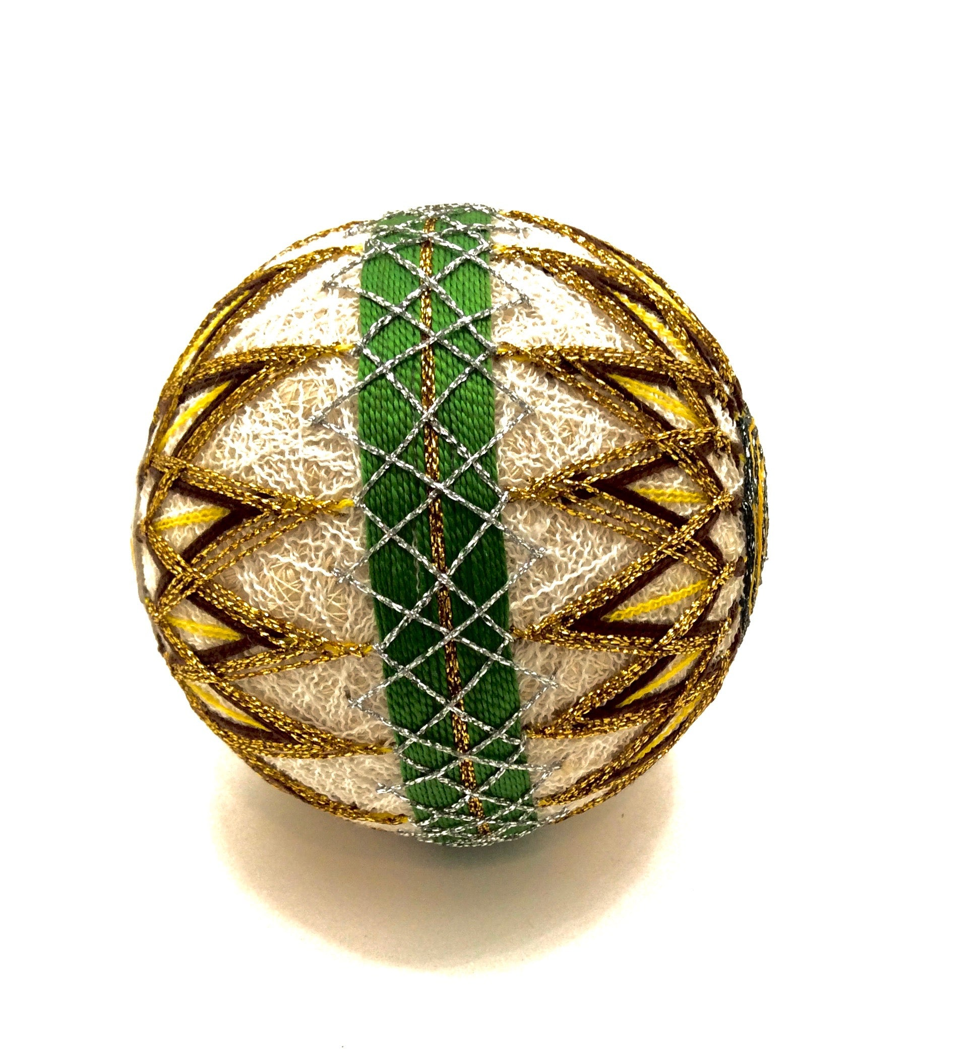 Vintage Japanese Folk Art - Embroidered Temari Ball | Ball with Kiku (Chrysanthemum) Motif
