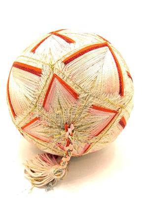 Vintage Japanese Folk Art | Embroidered Temari Ball with Silk Tassel