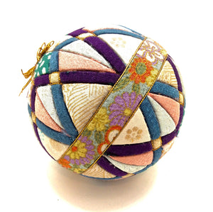 Vintage Japanese Folk Art - Temari Ball | Japanese Kimekomi Ball with Geometric Motif