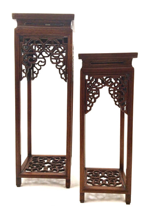 Fine Vintage Chinese Rosewood Curio Display Stand | Pair
