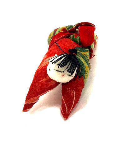 Japanese Chirimen Silk One-Of-A-Kind Brooch | Japanese Kimono Baby, (tenshi), Motif Decorative Pin