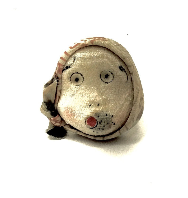 Japanese Chirimen Silk One-Of-A-Kind Brooch | Hyottoko Noh Character Decorative Pin
